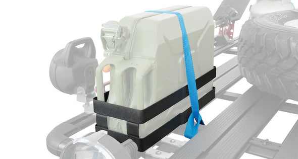 Rhino Rack Jerry Can Holder shown with horizontally mounted jerrycan anchored to roof rack