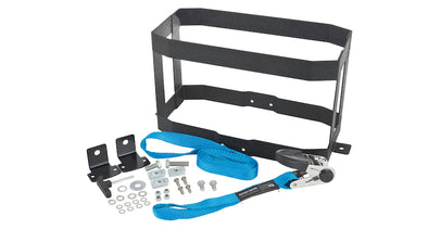 Rhino Rack Vertical Jerry Can Holder kit components including metal holder, ratchet strap, and required mounting hardware