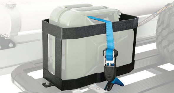 Rhino Rack Jerry Can Holder for vertically mounting Jerry Cans to Pioneer Platform roof rack