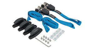 Rhino Rack Pioneer Pickup Kit components including 4 mounting blocks, 2 ratchet straps, and all the required hardware for installation