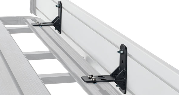 Brackets attaching awning to roof rack from Batwing Awning Bracket Kit for Pioneer Platform and Pioneer Tray Rack Systems