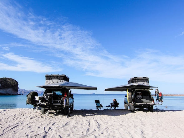 Beach camping with RLD 360 degree GhostAwn Awning