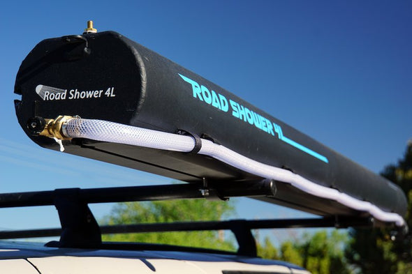10 gallon black solar heated camping shower from Road Shower