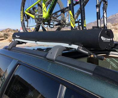 Front end of Road Shower 4S portable shower mounted on vehicle roof rack