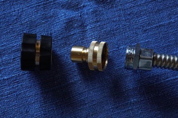 Quick disconnect fittings included with flex neck shower head