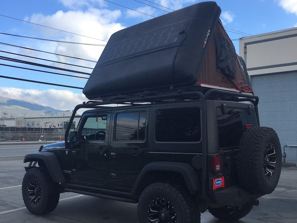 Rocky Black Linex iKamper Skycamp with SolarHawk 100W Solar Panel on Jeep JKU Rubicon