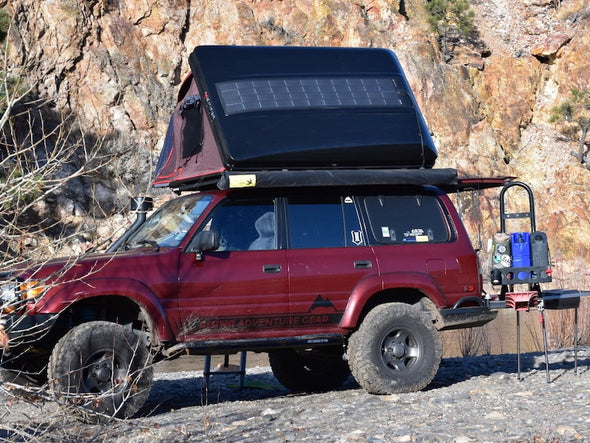 SolarHawk Solar Panel for iKamper Roof Top tent shown on overland vehicle camping off grid