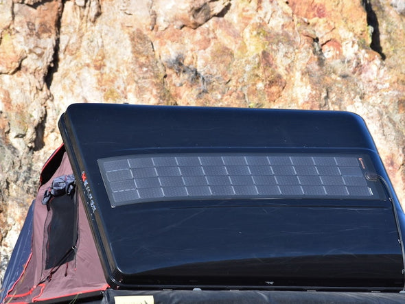 SolarHawk solar panel shown installed on iKamper Roof Top Tent shell