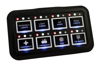 sPOD HD push button switch panel shown with buttons labelled and status indicator lights on