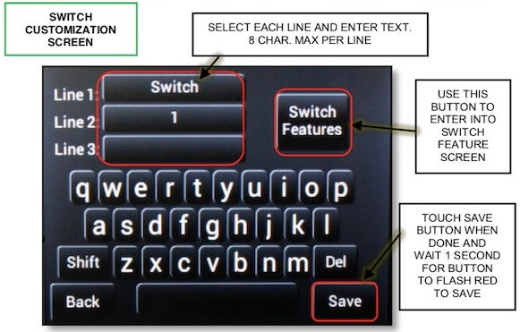 Annotated features of sPOD Bantam Touchscreen Switch Name Customization Menu