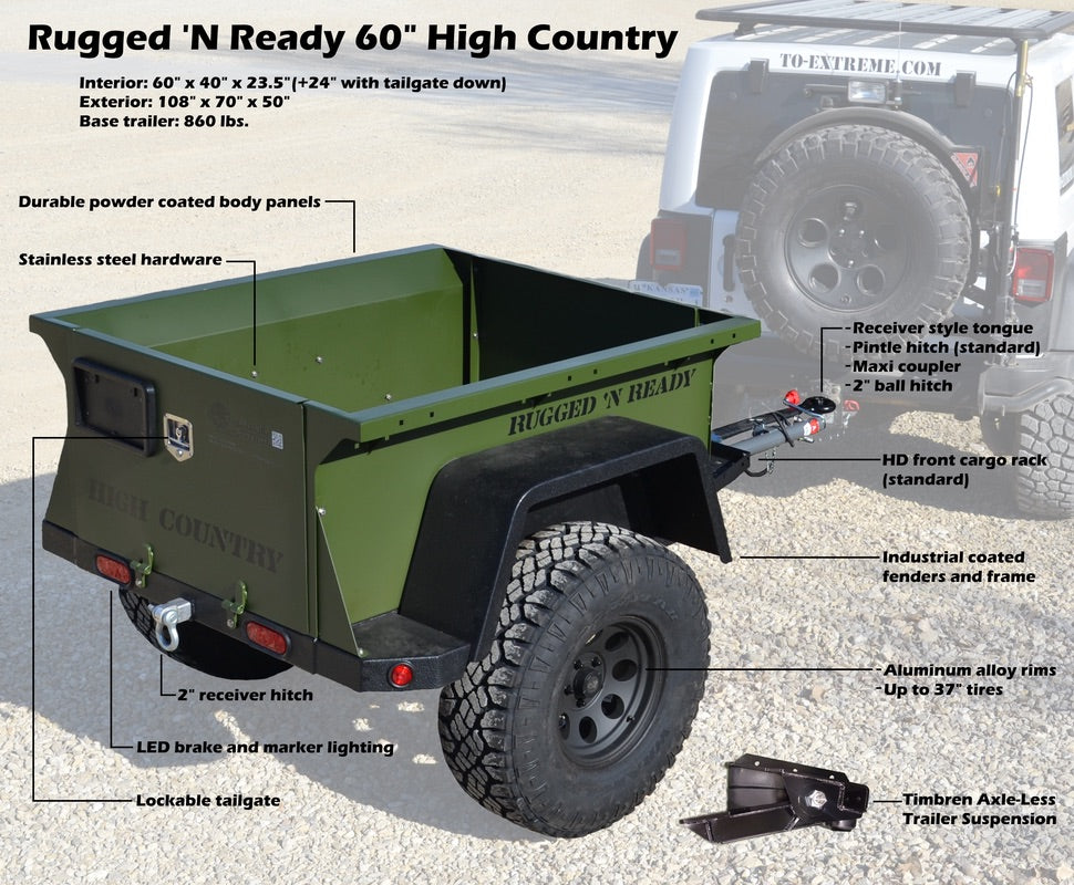 to extreme rugged n ready off road trailer high country 60