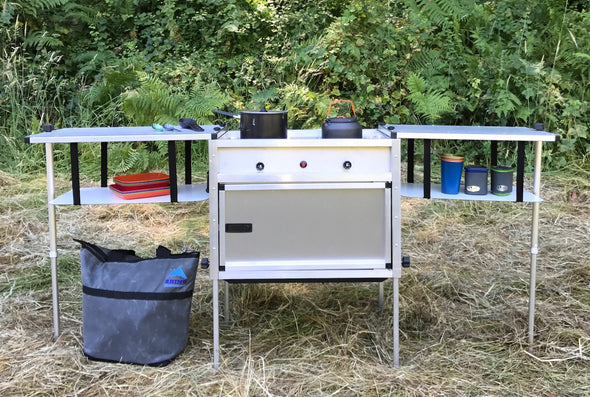 Trail Kitchens Camp Kitchen with Integrated Stove set up outdoors