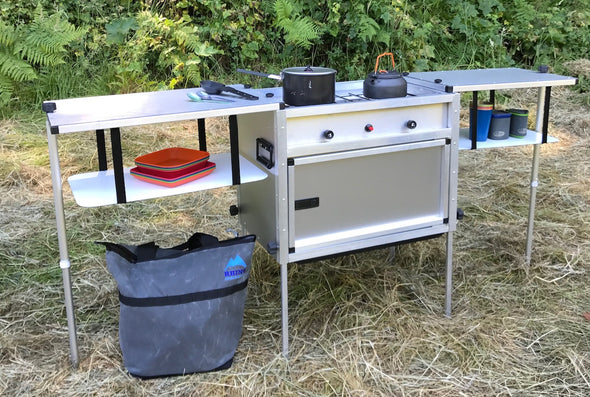 Trail Kitchens Camp Kitchen with Integrated Stove set up outdoors with ample counter space ready for cooking