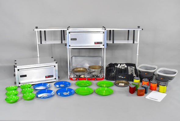 Trail Kitchen Compact Camp Kitchen shown set up with dishes side by side with compacted configuration for transport
