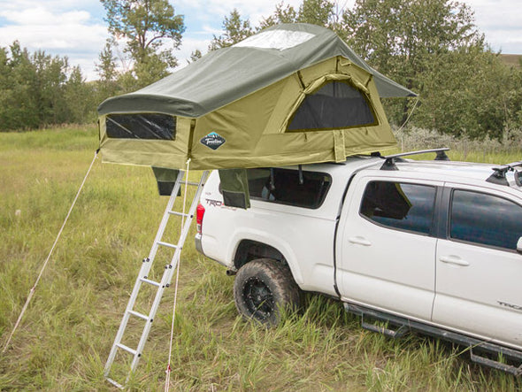 Spruce Treeline ponderosa constellation roof top tent on truck topper with spruce rainfly