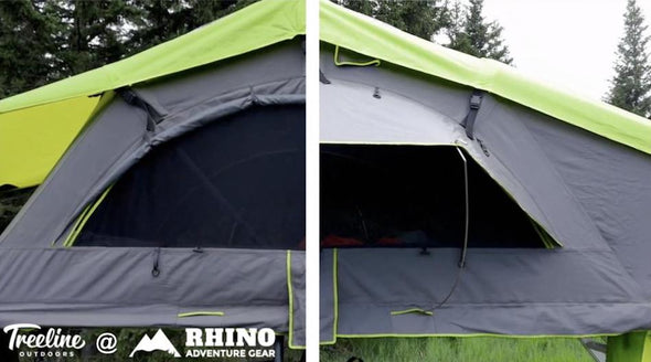 Treeline Outdoors Constellation Series Roof Top Tent with Roll Up Awning shown up and down side by side