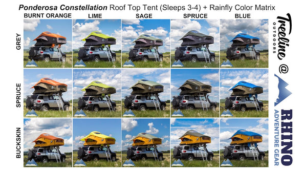 15 possible rainfly and tent color combinations available for Treeline Ponderosa Constellation Roof Top Tents