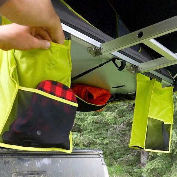 Shoe Storage Bag hanging next to ladder of Treeline Roof Top Tent