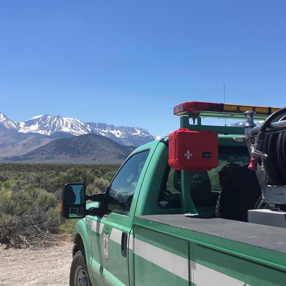 us forest service fire truck sporting a rack mounted first aid kit