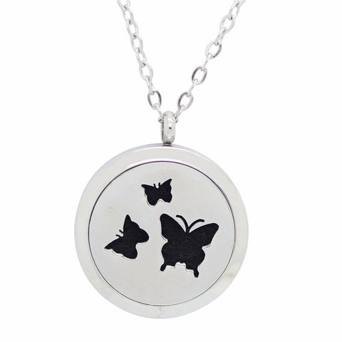 Butterfly Lovers Round Aromatherapy Essential Oil Diffuser Locket Necklace