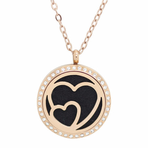 Hearts à Deux Rose Gold with Crystals Aromatherapy Essential Oil Diffuser Locket Necklace