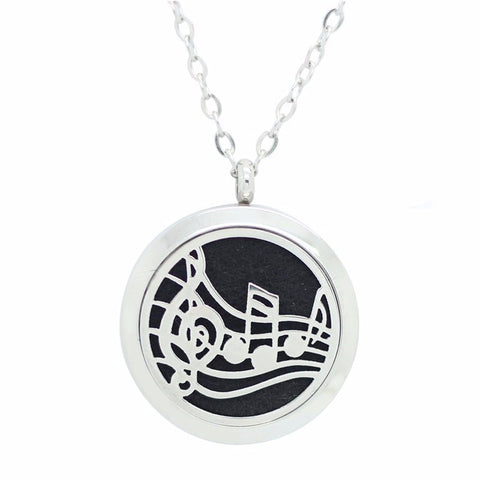 Musical Piece Round Aromatherapy Essential Oil Diffuser Locket Necklace