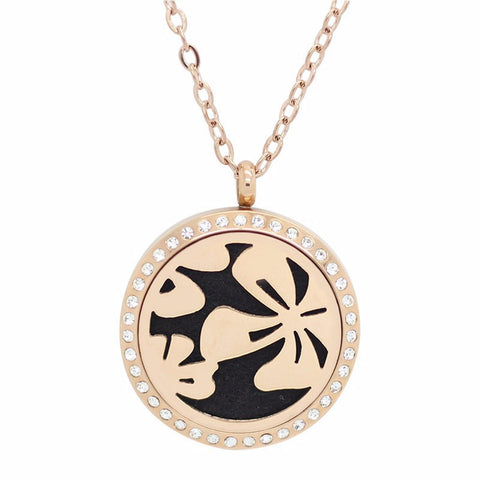 Tropical Flowers Rose Gold with Crystals Aromatherapy Essential Oil Diffuser Locket Necklace