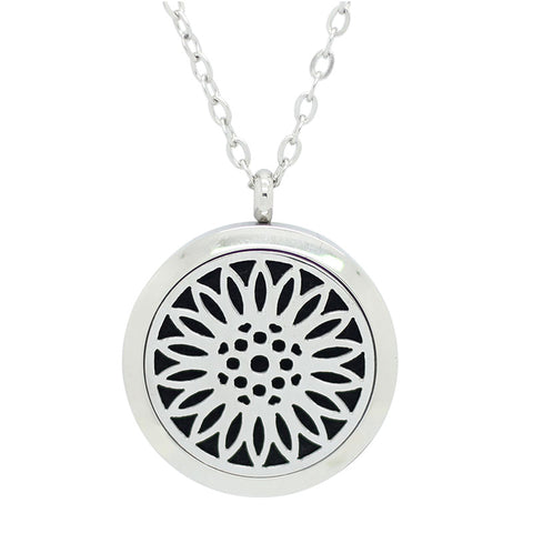 *New!! Sunflower Round Aromatherapy Essential Oil Locket Necklace