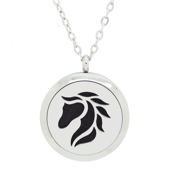 *New!! Horse Lover Round Aromatherapy Essential Oil Locket Necklace
