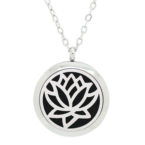 *New! Lotus Rose Round Aromatherapy Essential Oil Diffuser Locket Necklace