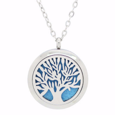 Tree of Life Round Aromatherapy Essential Oil Diffuser Locket Necklace