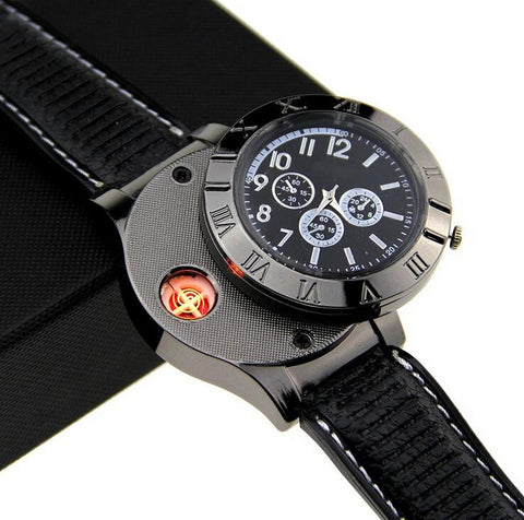 Military Style Watch With Wind-Proof Flameless Lighter Function