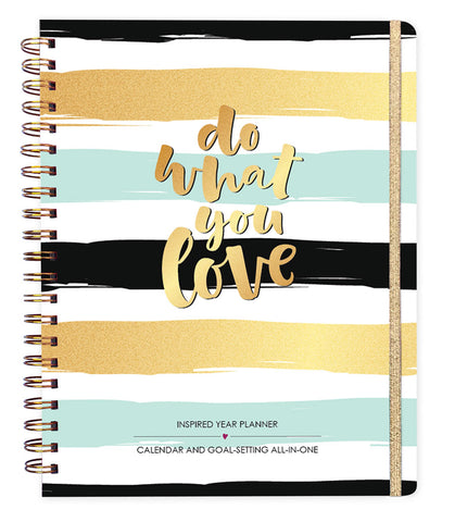 2018 Inspired Year Planner Hardcover - Do What You Love Stripes