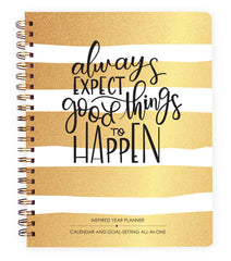 2017-2018 Gold Stripes Inspired Year Planner: Goal-setting and calendar all-in-one