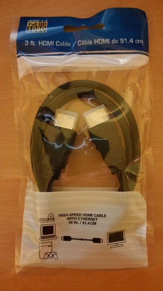 HDMI cable 3ft 1080p HDMI 1.4 Stereoscopic 3D high-speed ethernet - Millennia Goods