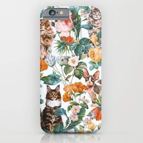 Cat and Floral Pattern III Mobile Cover - Millennia Goods