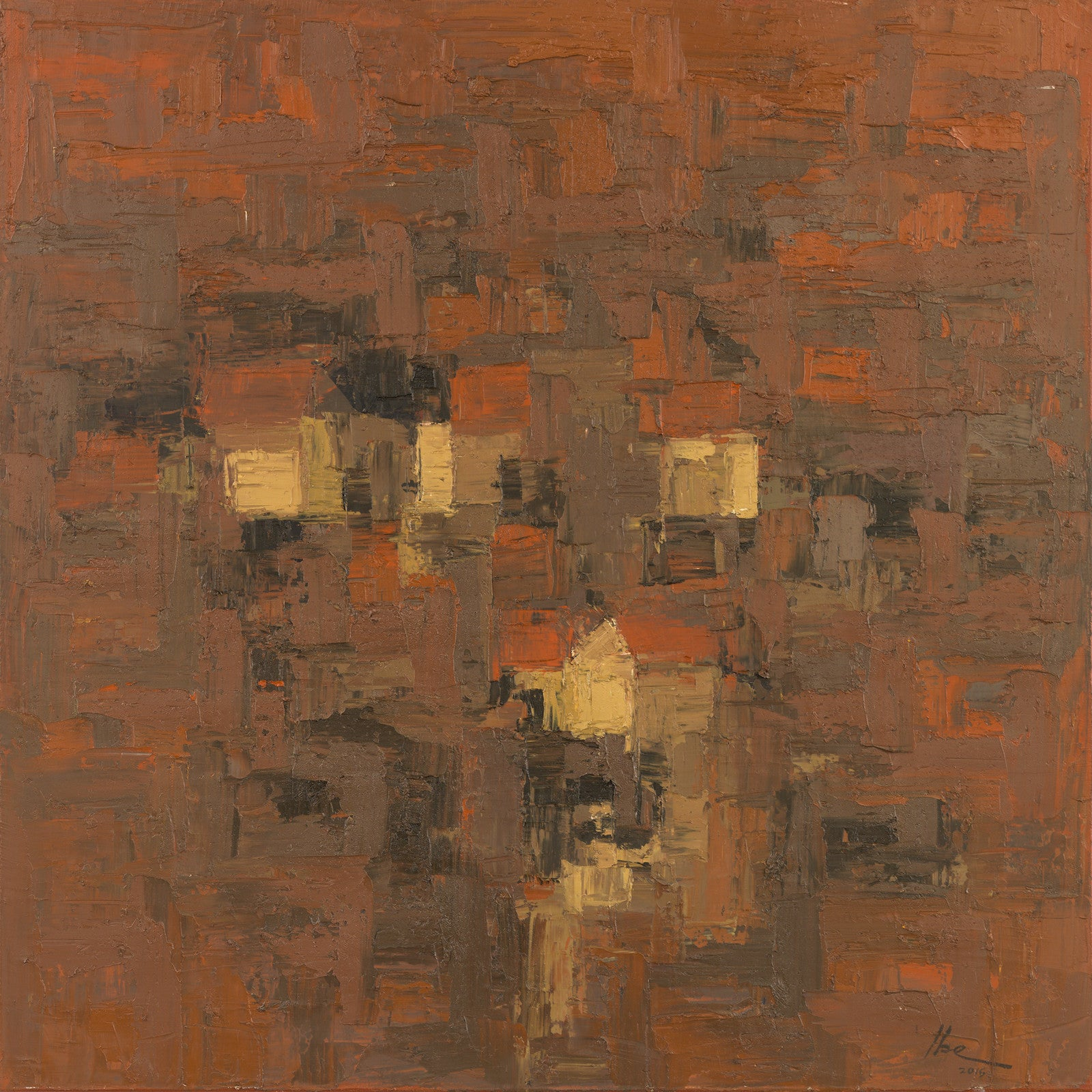 Onyeka Ibe, Structure 64, oil on canvas, 36x36