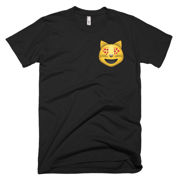 Cat emoji with pizza eyes shirt black