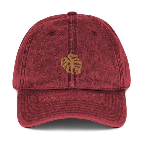 monstera leaf vintage hat