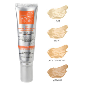 5-in-1 Natural Moisturizing Face Sunscreen - Tinted, Broadspectrum SPF 30