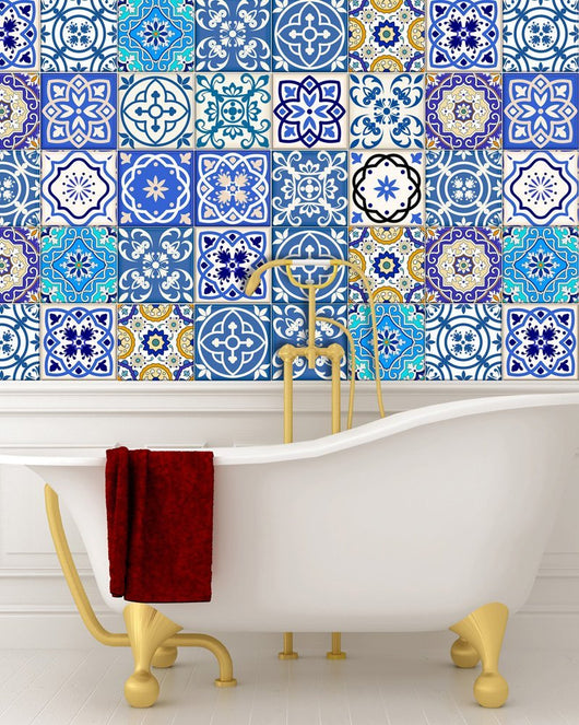Kitchen design diy 24 tile stickers mexican talavera style splashback stickers mixed for walls kitchen decals