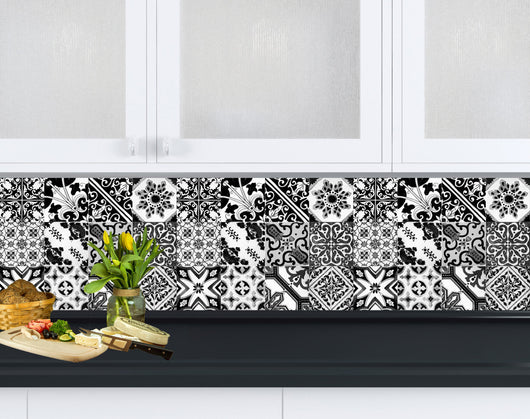 Black And White Design Tile Stickers Mexican Talavera Style - Black and white talavera tile