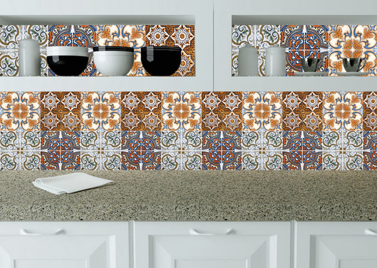 Set of 24 tile stickers Mexican Talavera style Splashback stickers mixed for walls Kitchen decals bathroom Stair decals H407