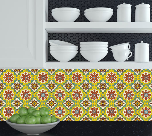 Set of 24 tile stickers Mexican Talavera style stickers for walls Kitchen bathroom murals decals Stair decals C29