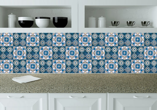 Set of 24 tile stickers Mexican Talavera style stickers for walls Kitchen bathroom murals decals Stair decals H212