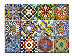 12x2 (24 pack) vintage traditional mexican Tiles Decals bathroom stickers mixed Tiles for walls Kitchen home decor AB2