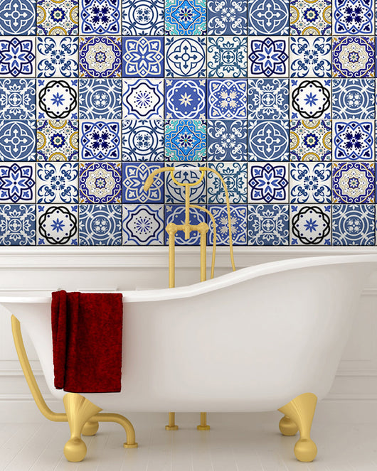 ... 24 Tile Decals Mexican Tile Stickers Bathroom Decor Ideas Mixed For  Walls Kitchen Decals Bathroom Stair ...