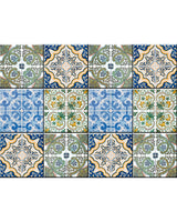 New design  24 tile stickers Mexican Talavera style backsplash stickers mixed for walls Kitchen bathroom decor idea Stair decals H405