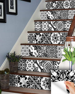 Black & whit IDEA 24 tile stickers Talavera style backsplash stickers mixed for walls Kitchen decals bathroom tile Stair decals V18