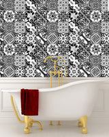 backsplash Black & whit tile IDEA 24 tile stickers Talavera style stickers mixed for walls Kitchen decals bathroom tile Stair decals V18
